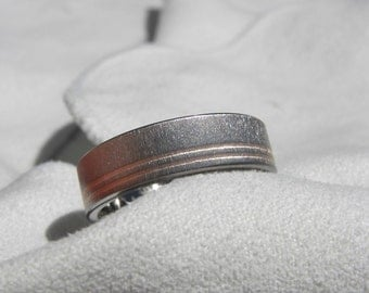 Wedding Band or Titanium Ring with Double Offset Rose Gold Pinstripes Frost Finish