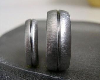 Titanium Ring SET or Wedding Bands, Matching Rings, Ladies Ring, Mens Ring
