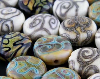 Round Shaped Spirals on Cream Backgorund Lampwork Glass Solo Bead by Chase Designs