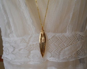 Gold Dipped Leaf Long Genuine Leaf Vintage 1970's  Laurel Leaves on Long Gold Beaded Chain Boho Necklace Vintage Jewelry