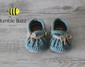 Country Girl - Baby Booties / Slippers / Shoes / Mary Janes 0-6 Months, 6-12 Months - Duck Egg