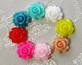 Tiny Resin Rose Flower Cabochons No Hole Choose your Colors 7mm 941
