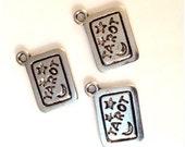 6 Tarot Card Charms - Antique Silver - SC82 #MY