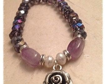 Purple amethyst glass charm bracelet, rose and pearl bracelet, ooak bracelet, valentines day gift for her, gift for mom, stretch bracelet,