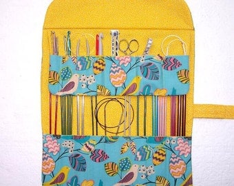 Blue Yellow Knitting Needle Storage Organizer, Bird Print Crochet Hook Holder, DPN Double Pointed Needle Case, Artist Brushes Roll