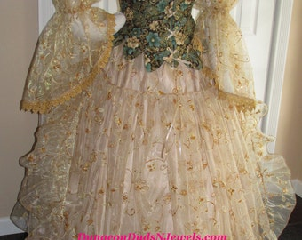 DDNJ Choose Fabrics 4pc Gilded Fairy Queen Reversible Corset  w/Tabs Renaissance Fantasy Larp Anime Wedding Plus Custom Made Any Size