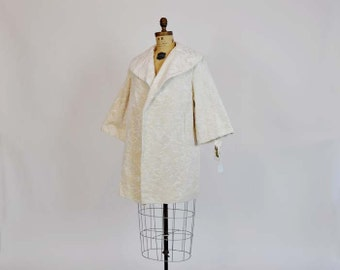 1960s jacket / Vintage 60's Boho Plush Tapestry Chenille A Line Jacket