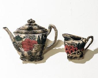 Soft Sculpture Teapot and Creamer