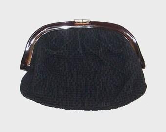 1960s purse / vintage 60s purse / leather / Black Woven Leather Clutch Purse