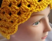 Lacy Crochet Ear Warmer  Winter Weather  Headband  Handmade  Golden Yellow Color With Scalloped Edge