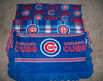 Baby's First Blanket Chicago Sports (choose from Chicago Cubs traditional, Chicago Cubs Plaid or Chicago Cubs with Ruffle)