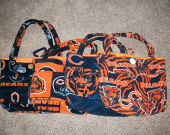 Chicago Sports  Pattern Fleece Diaper Bag (Chicago Bears Tiger Stripe, Chicago Bears Camouflage, Chicago Bears Block or Bears Traditional)