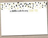 Printable Thank You Cards Instant Download Stationery PDF Black & Gold Polka Dot Confetti