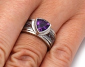 Amethyst Engagement Ring with Dinosaur Bone and Meteorite Inlay, Trillion Cut Ring