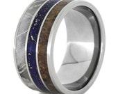 Custom Titanium Wedding Band for Him With Lapis Lazuli, Meteorite, And Dinosaur Bone Inlays, Lapis Lazuli Ring