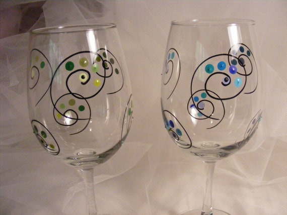Unique Painted Wine Glasses With Polka Dots And Swirls