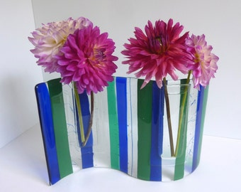 Fused Glass Wave Pocket Vase in Cobalt, Emerald Green and Clear by BPRDesigns