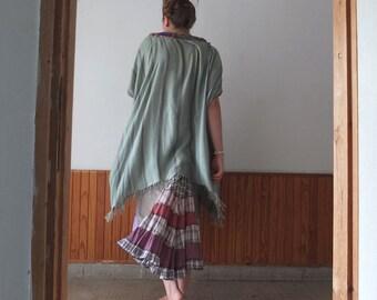 oversized tunic - Eco Fashion - XXL - Boho Top - Green Striped Hippy Fringe Tunic by Resplendent Rags