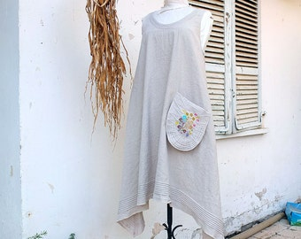 Natural Linen Dress  - Pintucks  Boho dress -  Puristic Slip on Summer Dress - made by Resplendent rags