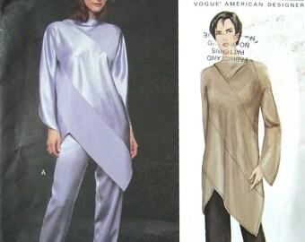 Easy VOGUE Sewing Pattern UNCUT 14 16 18 Designer Platt Fitted Straight Leg Pants Oversized Asymmetrical Tunic Top 2001 Factory Folds