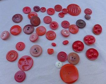 Assorted Lot of Red Vintage Buttons Plastic
