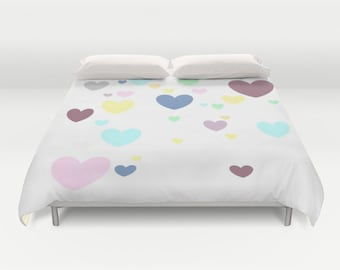 Heart Duvet Cover, White Duvet Cover, Made to Order, Multicolor Bedding, Decorative Bedding, Unique, Comforter Cover, Graphic Design, Dorm