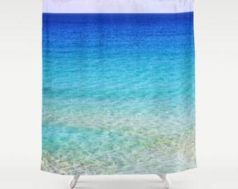 Calm Waters Shower Curtain, Beach Shower Curtain, Bathroom, Aqua Blue Home Decor, Nautical Shower Curtain, Nature Shower Curtain, Surf,Happy