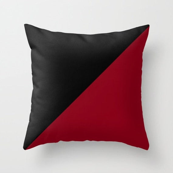 Burgundy Colored Throw Pillows : Black Burgundy Throw Pillow Decorative Pillow Cover Black