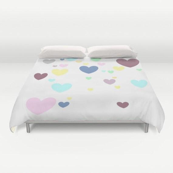 Heart Duvet Cover, White Duvet Cover, Made to Order, Multicolor Bedding, Decorative Bedding, Unique, Comforter Cover, Graphic Design, Dorm