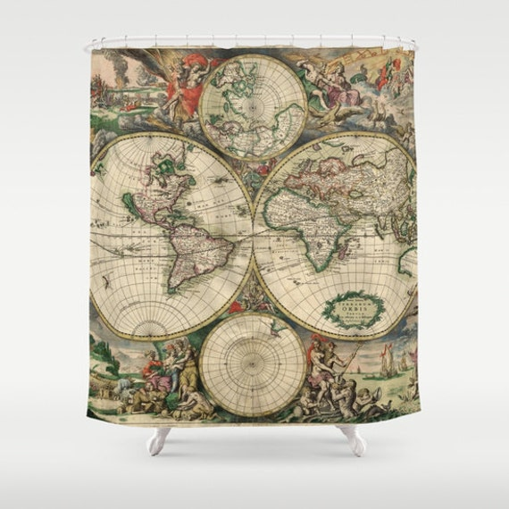 Old world map shower curtain vintage world map shower for Old world curtains and drapes