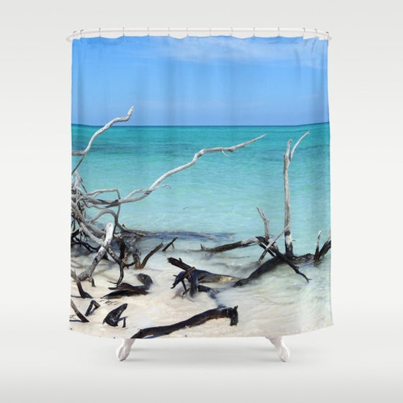 Beach Shower Curtain, Tropical Shower Curtain, Bathroom, Aqua Blue Home Decor, Nautical Shower Curtain, Nature Shower Curtain, Surf, Sand