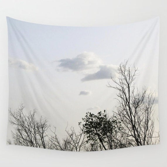 Trees Wall Tapestry, Cloudy Sky Tapestry, Trees Home Decor, Nature Tapestry, Wall Tapestry, Home Decor, Whimsical, Tree Branches, Woodland
