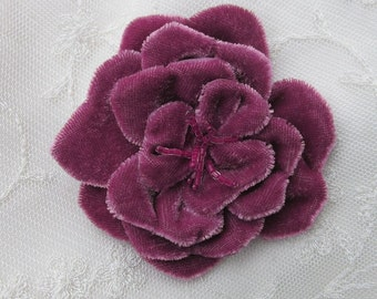 Glass Beaded Mauve Velvet Fabric Rose Flower Hat Corsage Baby Christening Pageant Bridal Hair Accessory Applique