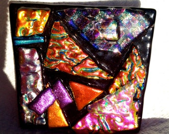 MODERN ART Fused Glass PAPERWEIGHT