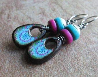 Purple and Aqua Kaleidoscope Print Decoupage Wood Tile Earrings