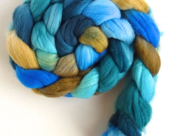 Superwash Targhee Wool Roving - Hand Painted Spinning or Felting Fiber, Take Me to the River