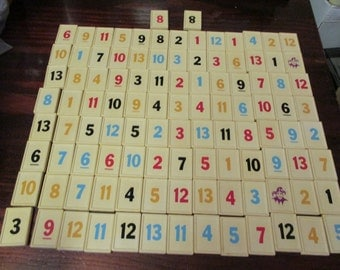Lot of Plastic Number Tiles 106 Gin Rummy Tile Game Pieces