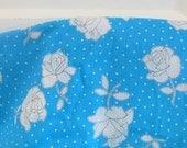 Vintage Fabric Yardage Aqua White Flowers Rose Supply Cotton Feedbag