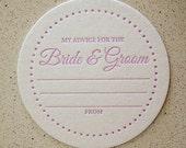 "100 custom color ""Advice for the Bride & Groom"" letterpress coasters"