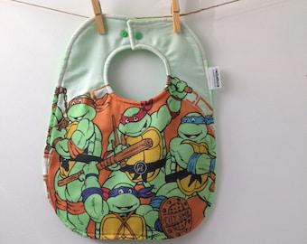 TMNT Baby Gift - TMNT Baby Bib from Vintage Bed Sheets - Leonardo, Michelangelo, Raphael, Donatello - 1980s Baby Gift - Heros in a Halfshell