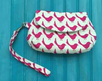 Curvy Clutch Wristlet - Pink Bird - Imported Japanese Fabric