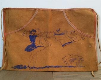 Vintage Canvas Clothes Pin Apron..Peek-A-Boo Woman..Naughty Woman Apron..Vintage Textiles..Home Textiles..Racy Vintage Image..Home Goods