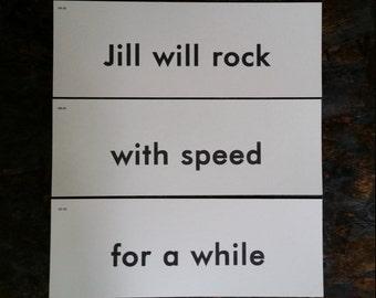 Vintage Flash Cards..Flashcard Set..Name Card..Phrase Word Art..Altered Art Supply..Mixed Media Supply..Interior Design..Paper Ephemera