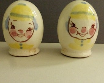 Vintage Mid Century Gayet California Pottery Egg Shaped Clown Salt and Pepper Shakers