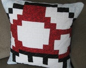 Power Up Mushroom Quilted Pillow Cover - free shipping