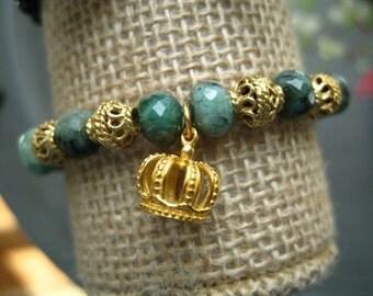 Emerald Boho Stretch Stack Bracelet - Emerald Stack Bracelet - Emerald Mala Bracelet Emerald Yoga Bracelet Crown Bracelet