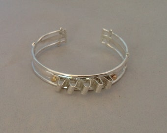 Sterling and 14K yellow Gold Cuff Fold-Formed Ripple Top 6 inches