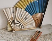 Handpainted Asian Paper Folding Fans Instant Collection Personal Ladies Bamboo Rice Paper Handheld