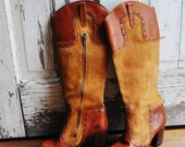 SALE 1970s Knee High Zip Up Boots Honey Caramel Brown Boho Hippy Retro Size Marked Size 6.5