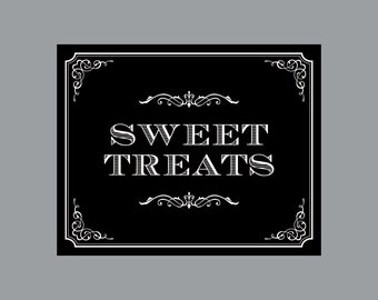 DIY Printable Sweet Treats Sign -  Vintage Antique Victorian Cottage Chic Rustic Chalkboard Wedding Reception Sweet Treats Sign